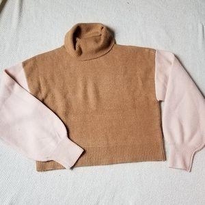 NWOT Caramel & Pink Puff Sleeve Turtleneck Sweater